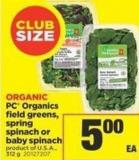 PC Organics Field Greens - Spring Spinach Or Baby Spinach - 312 g