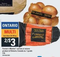Farmer's Market Carrots Or Onions Product Of Ontario - Canada No. 1 Grade 3 Lb