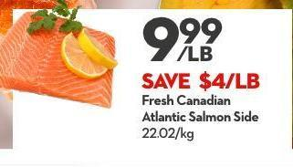 Fresh Canadian Atlantic Salmon Side 22.02/kg