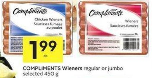 Compliments Wieners Regular or Jumbo Selected 450 g