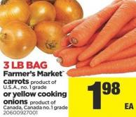 Farmer's Market Carrots Or Yellow Cooking Onions - 3 Lb Bag