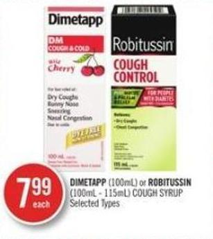 Dimetapp (100ml) or Robitussin (100ml-115ml) Cough Syrup