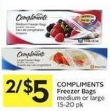 Compliments Freezer Bags Medium or Large