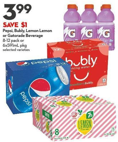 Pepsi - Bubly - Lemon Lemon  or Gatorade Beverage 8-12 Pack or  6x591ml Pkg