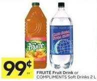 Fruité Fruit Drink or Compliments Soft Drinks 2 L