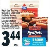Maple Leaf Top Dogs Wieners Or Schneiders Red Hots Wieners 375 g