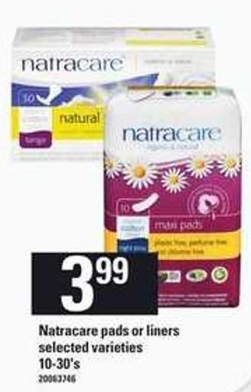 Natracare Pads Or Liners - 10-30's