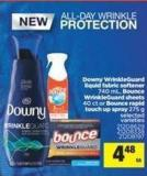 Downy Wrinkleguard Liquid Fabric Softener - 740 mL - Bounce Wrinkleguard Sheets - 40 Ct or Bounce Rapid Touch Up Spray - 275 g