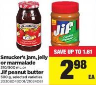Smucker's Jam - Jelly Or Marmalade - 310/500 Ml Or Jif Peanut Butter - 500 G
