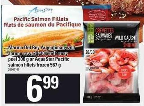 Marina Del Rey Argentinian Wild Shrimp Raw - 20/30 Per Lb Easy Peel 300 G Or Aquastar Pacific Salmon Fillets Frozen 567 G