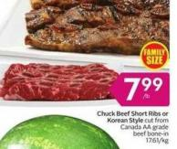 Chuck Beef Short Ribs or Korean Style