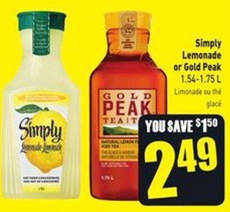 Simply Lemonade or Gold Peak 1.54-1.75 L