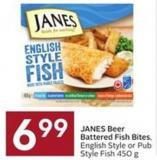 Janes Beer Battered Fish Bites - English Style or Pub Style Fish 450 g