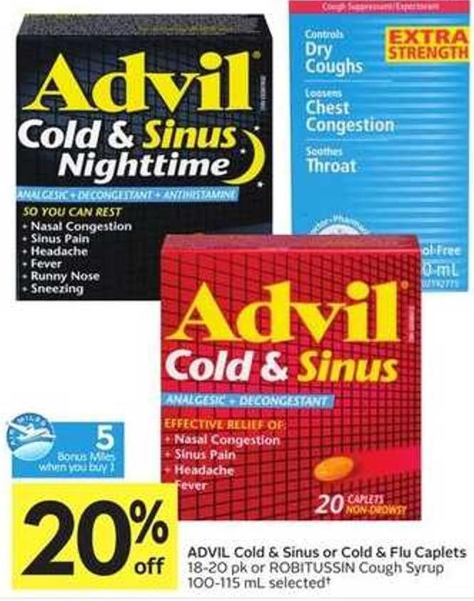 Advil Cold & Sinus or Cold & Flu Caplets - 5 Air Miles Bonus Miles