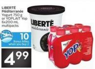 Liberté Méditerranée Yogurt 750 g or Yoplait Yop 6x200 mL Multipacks - 10 Air Miles Bonus Miles