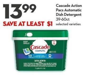 Cascade Action  Pacs Automatic  Dish Detergent 39-60ct