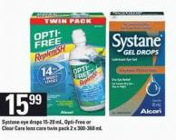 Systane Eye Drops - 15-20 mL - Opti-free or Clear Care Lens Care Twin Pack - 2 X 300-360 mL