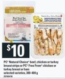 PC Natural Choice Beef - Chicken Or Turkey Breast Strips Or PC Free From Chicken Or Turkey Breast Or Ham - 300-400 g
