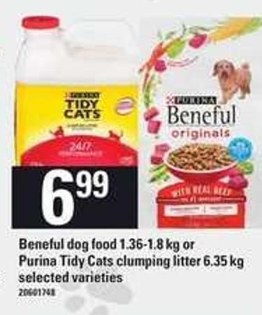 Beneful Dog Food - 1.36-1.8 Kg Or Purina Tidy Cats Clumping Litter - 6.35 Kg