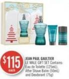 Jean Paul Gaultier Le Male Gift Set Contains: Eau de Toilette (125ml) - After Shave Balm (50ml) and Deodorant (75g)