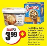 Nestlé Real Dairy or Confectionary Ice Cream 1.5 L Drumstick 4 Pk or Novelties 4-10 Pk Selected Varieties