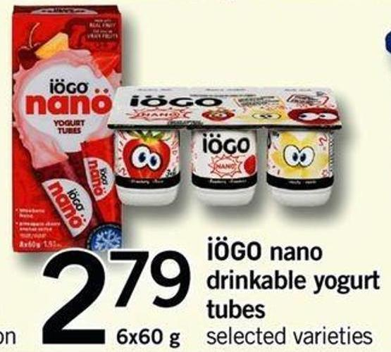 Iögo Nano Drinkable Yogurt Tubes - 6x60 G