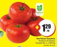 Hot House Tomatoes Product of Ontario Canada No. 1 - 2.84/kg