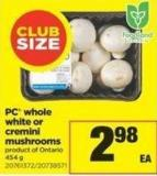 PC Whole White Or Cremini Mushrooms.454 G