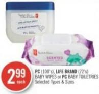 PC (100's) - Life Brand (72's) Baby Wipes or PC Baby Toiletries