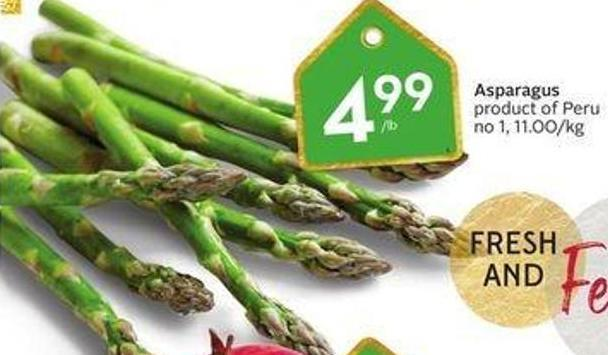 Asparagus Product of Peru No 1 - 11.00/kg