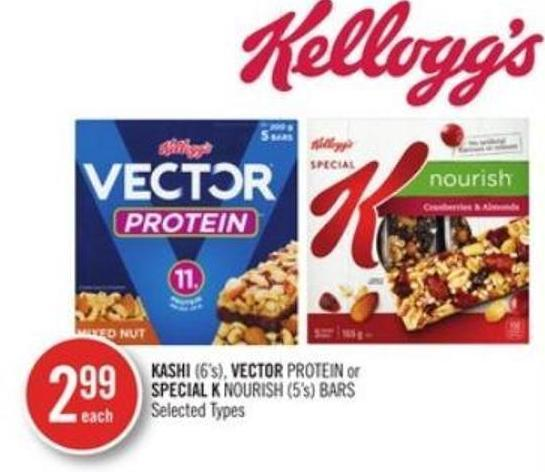 Kashi (6's) - Vector Protein or Special K Nourish (5's) Bars