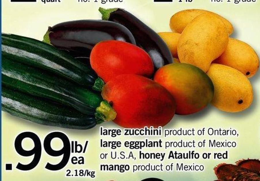 Large Zucchini - Large Eggplant - Honey Ataulfo Or Red Mango