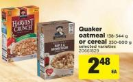 Quaker Oatmeal - 138-344 G or Cereal - 350-600 G