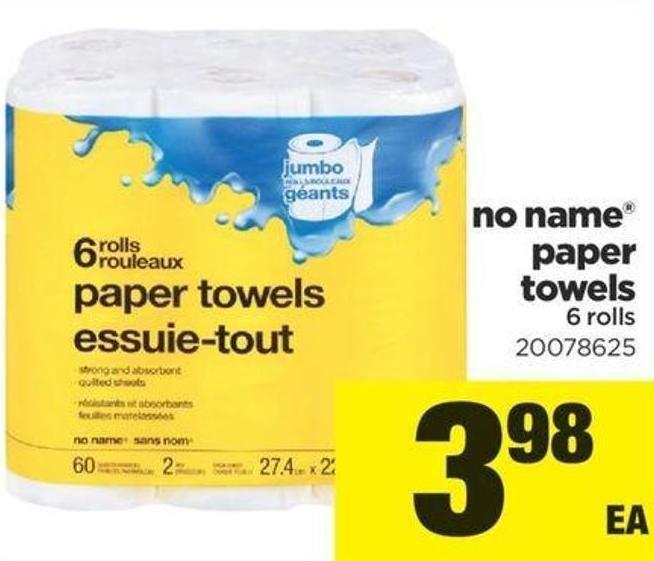 No Name Paper Towels - 6 Rolls