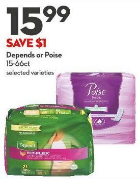 Depends or Poise 15-66ct