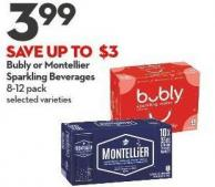 Bubly or Montellier  Sparkling Beverages 8-12 Pack
