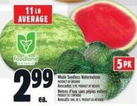 Whole Seedless Watermelons Product Of Ontario Avocados 5 Pk - Product Of Mexico
