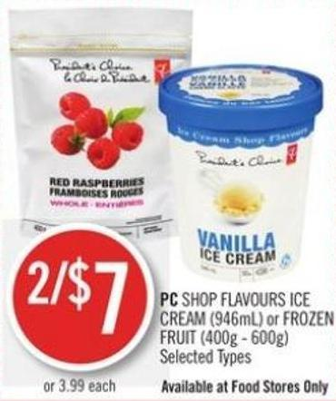 PC Shop Flavours Ice Cream (946ml) or Frozen Fruit (400g - 600g)