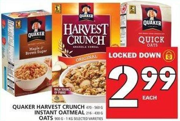 Quaker Harvest Crunch Or Instant Oatmeal Or Oats