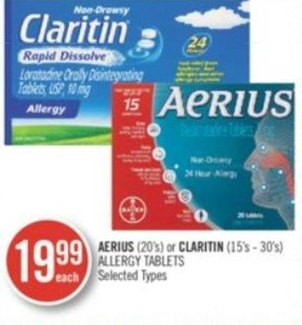Aerius (20's) or Claritin (15's-30's) Allergy Tablet