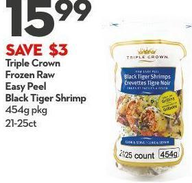 Triple Crown Frozen Raw Easy Peel Black Tiger Shrimp 454g Pkg 21-25ct