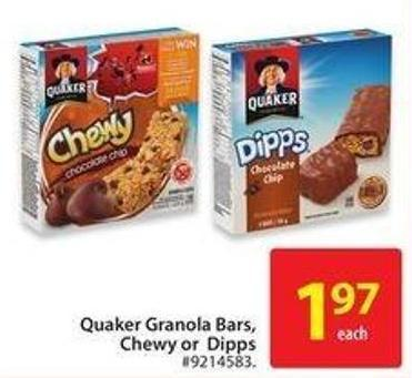 Quaker Granola Bars - Chewy or Dipps