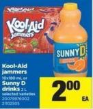 Kool-aid Jammers - 10x180 Ml Or Sunny D Drinks - 2 L