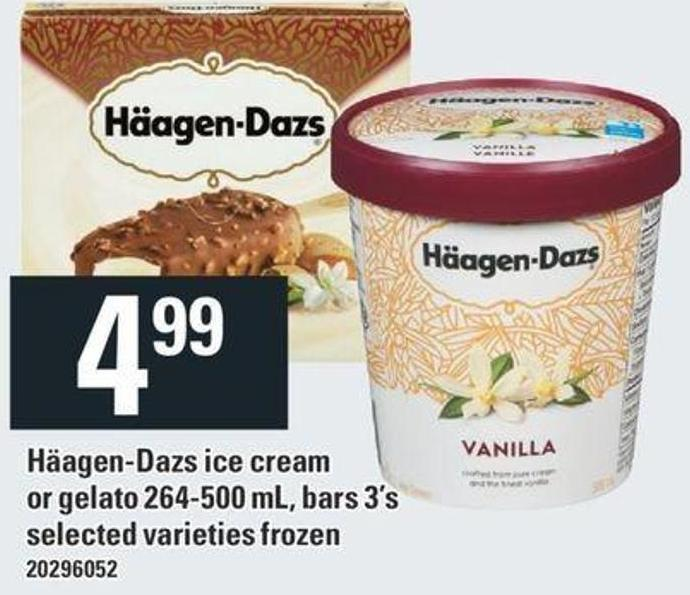 Häagen-dazs Ice Cream Or Gelato 264-500 Ml - Bars 3's