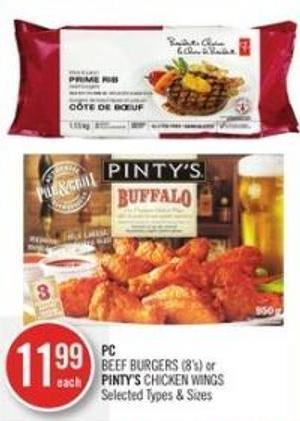 PC Beef Burgers or Pinty's Chicken Wings