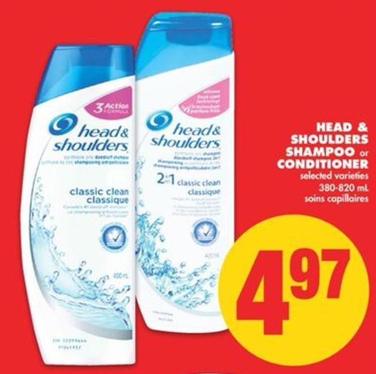 Head & Shoulders Shampoo or Conditioner - 380-820 mL