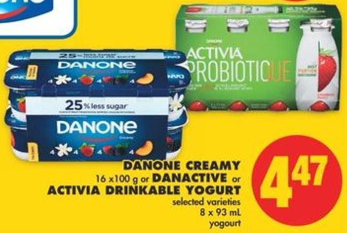 Danone Creamy - 16 X100 g or Danactive or Activia Drinkable Yogurt - 8 X 93 mL