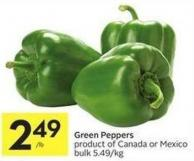 Green Peppers Product of Canada or Mexico Bulk 5.49/kg