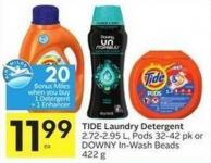 Tide Laundry Detergent 2.72-2.95 L - Pods 32-42 Pk or Downy In-wash Beads 422 g - 20 Air Miles Bonus Miles