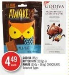 Godiva (85g) - Ritter Mini (133g) or Awake (150g - 165g) Chocolate